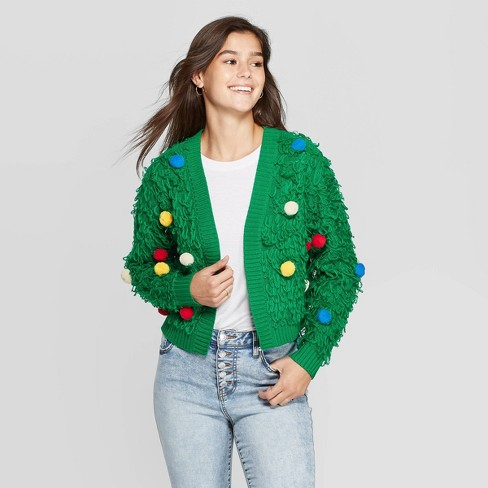 Women's Loop with Poms Long Sleeve Sweater (Juniors') - Green - image 1 of 2