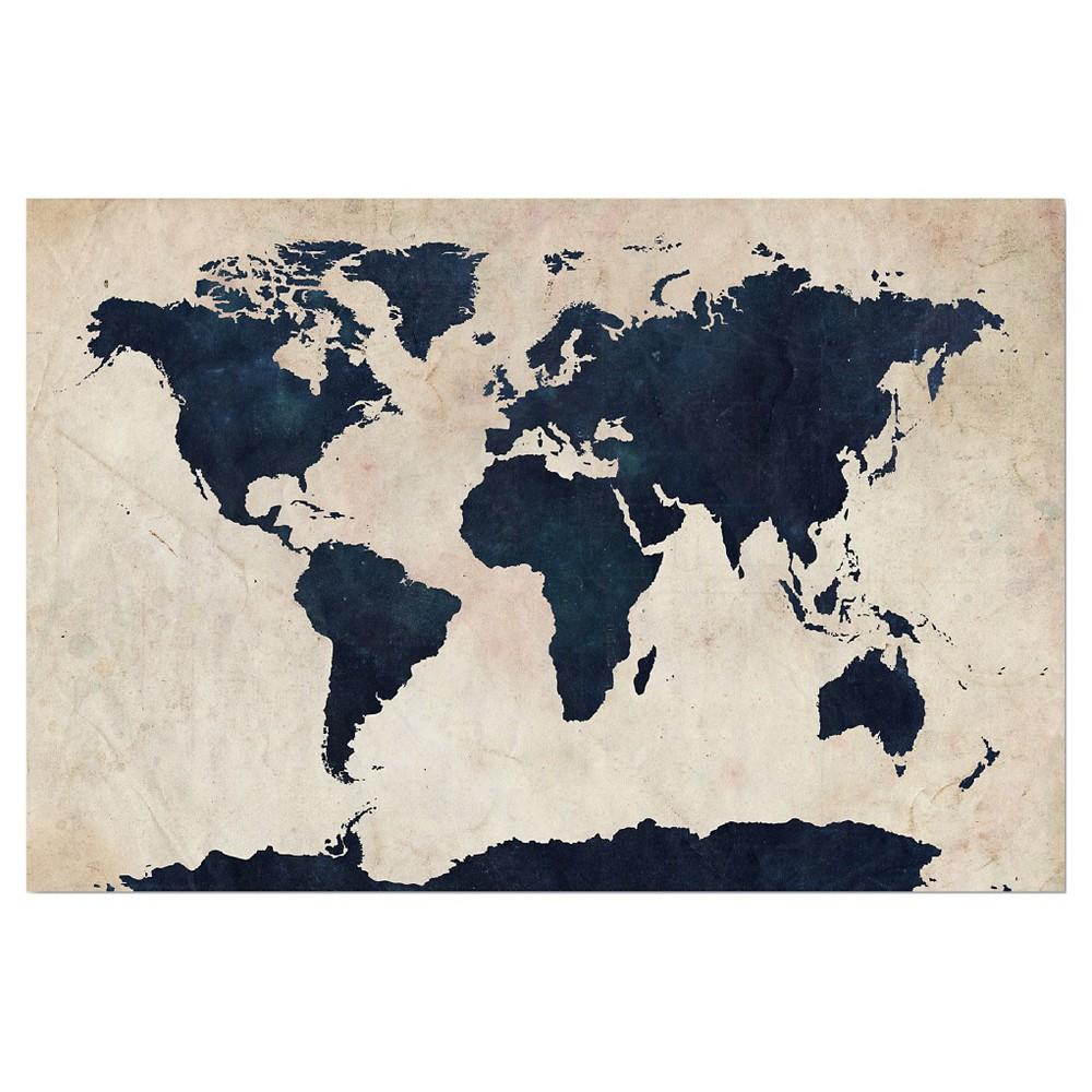 World Map -Navy' by Michael Tompsett Ready to Hang Canvas Wall Art, Blue