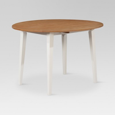 Carey 44  Round Drop Leaf Table - White & Natural - Threshold™