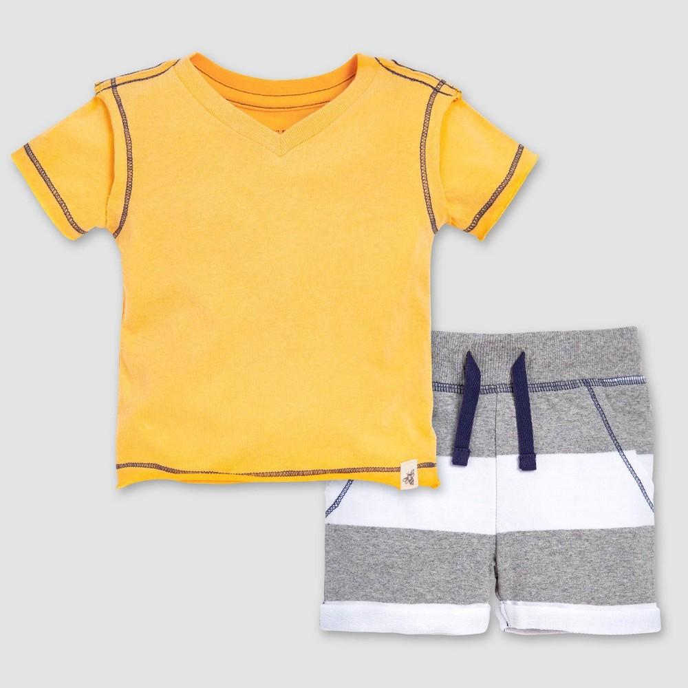 Burt's Bees Baby Boys' Sunwashed Organic Cotton T-Shirt & French Terry Shorts Set - 0-3M, Multicolored