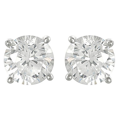 1/2 CT. T.W. Tressa Round Cut Cubic Zirconia Basket Set Stud Earrings in Sterling Silver - Silver - image 1 of 3
