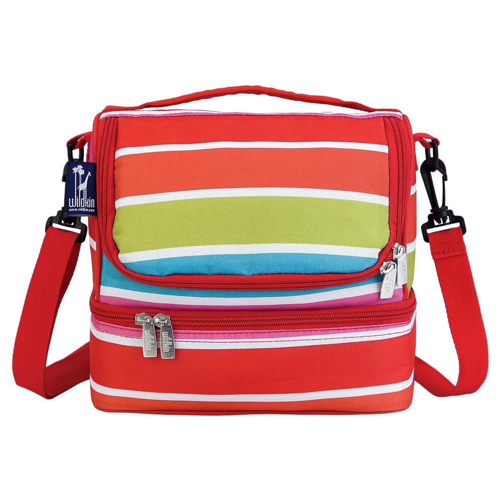 Wildkin Bright Stripes Double Decker Lunch Bag, Pink