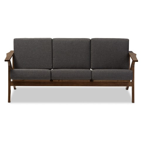 Cayla Mid Century Modern Fabric Living Room 3 Seater Sofa Gray Walnut Brown Baxton Studio Target