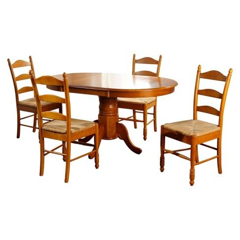5 Piece Farmhouse Ladder Back Dining Table Set Wood/Oak - TMS - image 1 of 2