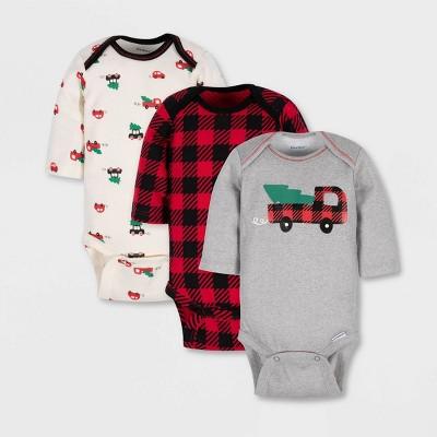 Gerber Baby Boys' 3pk Christmas Tree & Truck Long Sleeve 100% Cotton Bodysuit - Gray/Red/Cream 0-3M