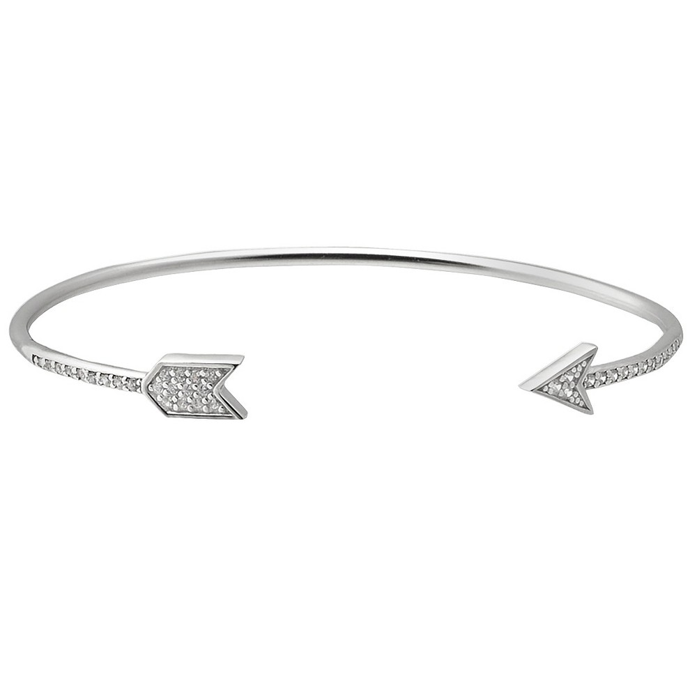 3/4 CT. T.W. Round-cut CZ Arrow Cuff Pave Set Bracelet in Sterling Silver - Silver, Girl's