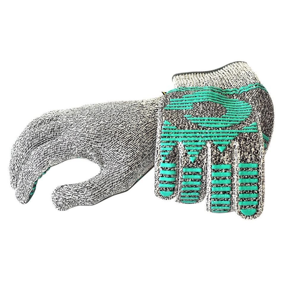 Image of Cutshield Hybrid Cut Resistant Gloves with Silicone Heat Resist Block Coating - Large - Green - G & F