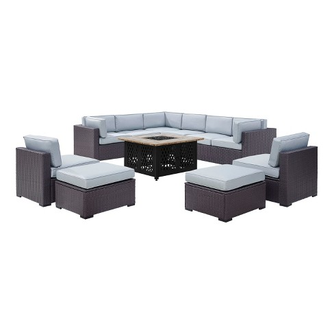Biscayne 8pc All-Weather Wicker Patio Seating Set - Mist - Crosley - image 1 of 3