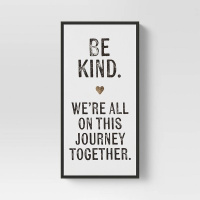"""12"""" X 24"""" """"Be Kind"""" Framed Wall Canvas White - Threshold™"""