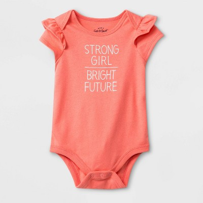 Baby Girls' Short Sleeve Ruffle Shoulder Bright Future Bodysuit - Cat & Jack™ Peach Newborn