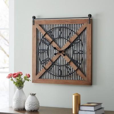 Field Haven Farmhouse Barn Door Clock Galvanized Metal - FirsTime