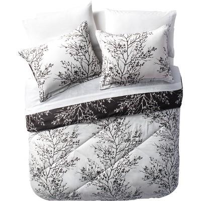 8pc Leaf Bed in a Bag Comforter Set Black & White - VCNY Home