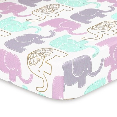 The Peanutshell Little Peanut Lilac Elephant Fitted Crib Sheet