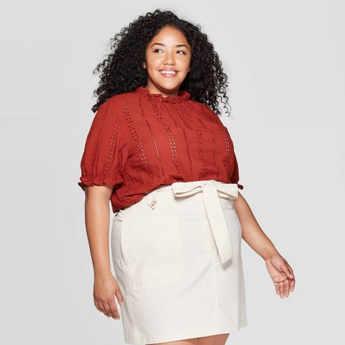 Women's Plus Size Short Sleeve Crewneck Eyelet Top - Universal Thread™ Rust - image 1 of 3