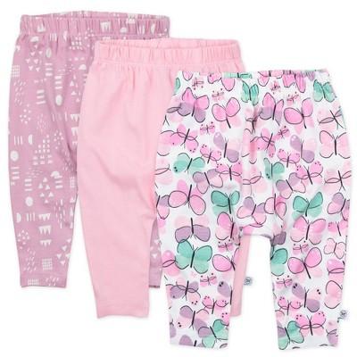 Honest Baby Girls' 3pk Organic Cotton Cuff-Less Harem Flutter Pants - Purple
