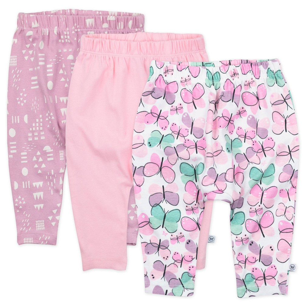 Honest Baby Girls 39 3pk Organic Cotton Cuff Less Harem Flutter Pants Purple 12m