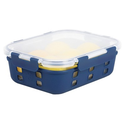 Michael Graves Design Rectangle X-Large 51 Ounce High Borosilicate Glass Food Storage Container with Plastic Lid, Indigo