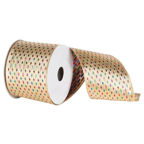 "Diamond Wired Edged Ribbon Multicolored 4"" x 10 yards - image 1 of 2"