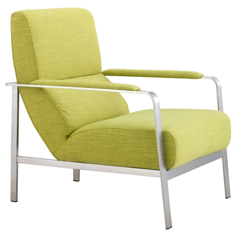 Mid-Century Modern Upholstered and Brushed Stainless Steel Arm Chair - ZM Home, Green
