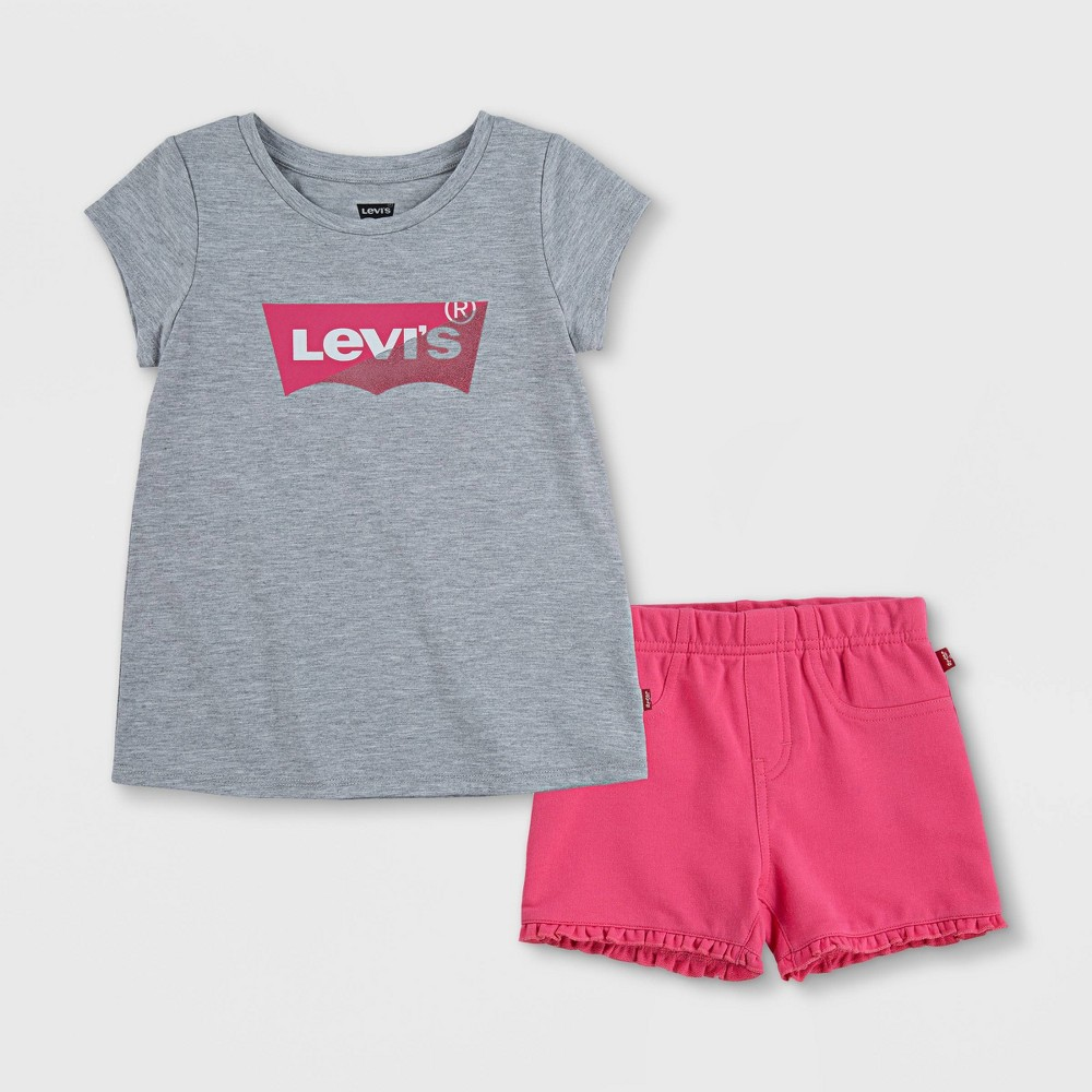 Levi 39 S 174 Toddler Girls 39 Knit Graphic Top 38 Shorts Set Light Gray 4t