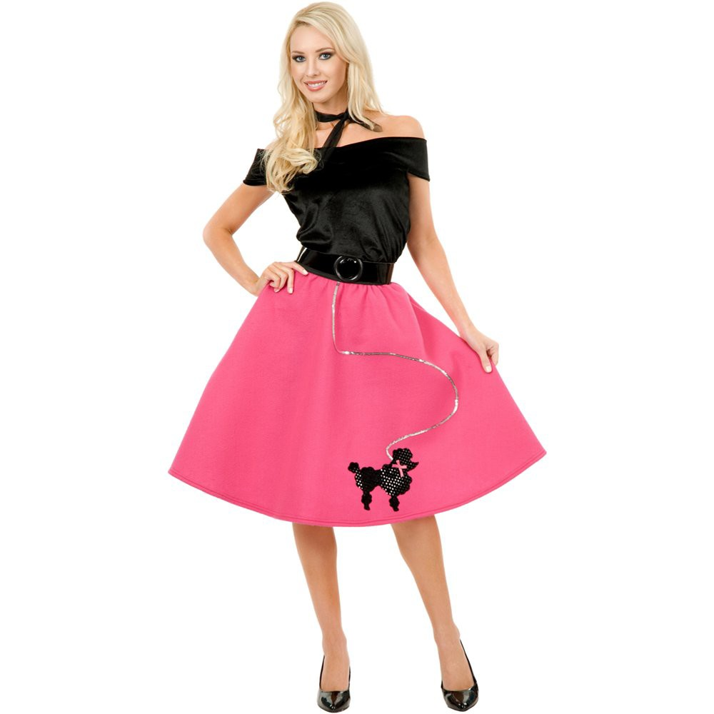 Image of Halloween Women's Poodle Skirt Top and Scarf Costume Large, Black/Pink/Silver