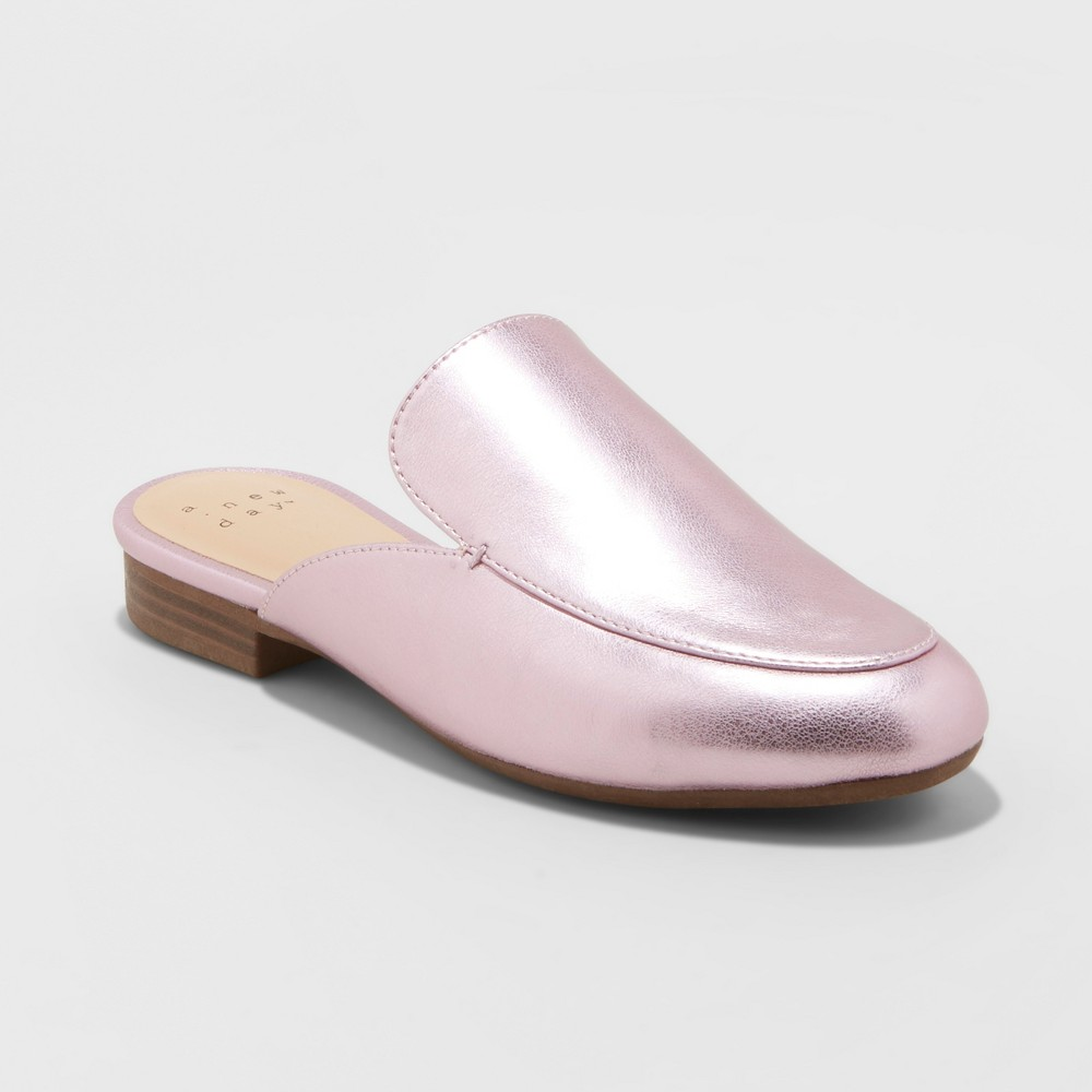 Women's Anney Wide Width Backless Mules - A New Day Pink 9W, Size: 9 Wide