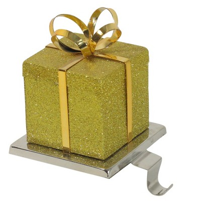 """Northlight 6"""" Silver and Gold Glittered Gift Box Christmas Stocking Holder"""