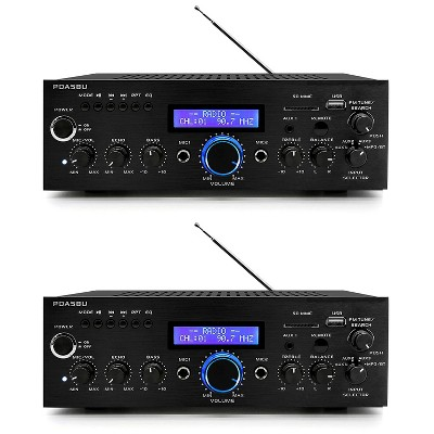 Pyle Home PDA5BU High Performance Powerful 200 Watt AM/FM Radio AUX/USB Input CD/DVD Player Wireless Bluetooth Home Stereo Amplifier System (2 Pack)