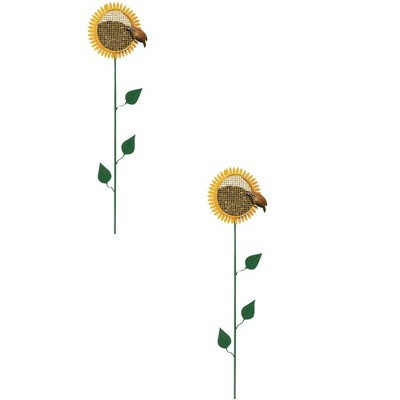 Woodlink 38-Inch Tall 0.50-Pound Capacity Portable Sunflower Stake Bird Feeder with Metal Mesh Cage (2 Pack)
