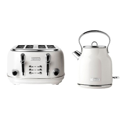 Haden Heritage 75012 1.7 Liter Stainless Steel Body Retro Electric Tea Kettle & Haden Heritage 75013 4 Slice Wide Slot Retro Toaster, Ivory White