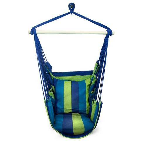 Sorbus Blue Hanging Rope Hammock Chair Swing Seat-2 Seat Cushions Included - image 1 of 3