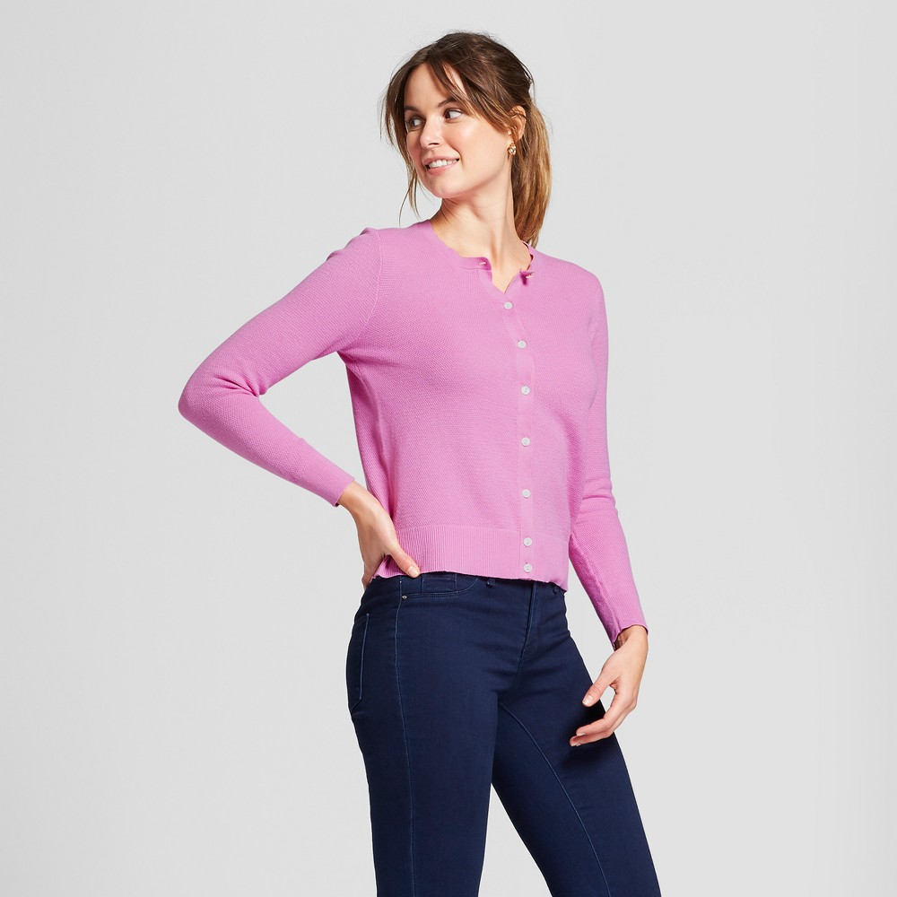 Women's Long Sleeve Any Day Cardigan - A New Day Mauve (Pink) S