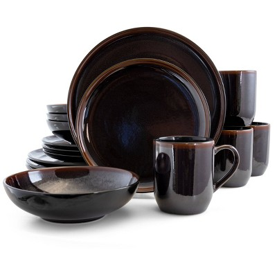 16pc Stoneware Chocolate Mousse Dinnerware Set Brown - Elama