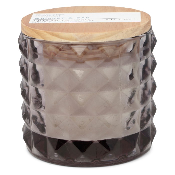 8oz Faceted Glass Jar Candle White Whiskey & Oak - Vineyard Hill Naturals By Paddywax - image 1 of 2