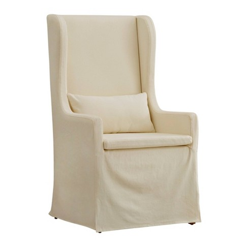 Walton Park Slipcovered Wingback Hostess Chair - Cream - Inspire Q - image 1 of 3