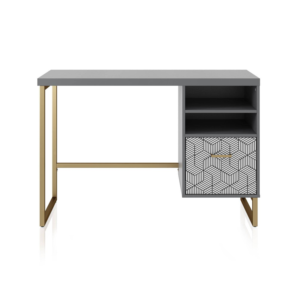 Scarlett Single Pedestal Desk Graphite Gray - CosmoLiving by Cosmopolitan