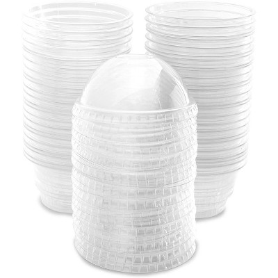 50 Pack 5 oz Clear Plastic Cups with Dome Lids for Ice Cream, Dessert, Mini Snack Bowls