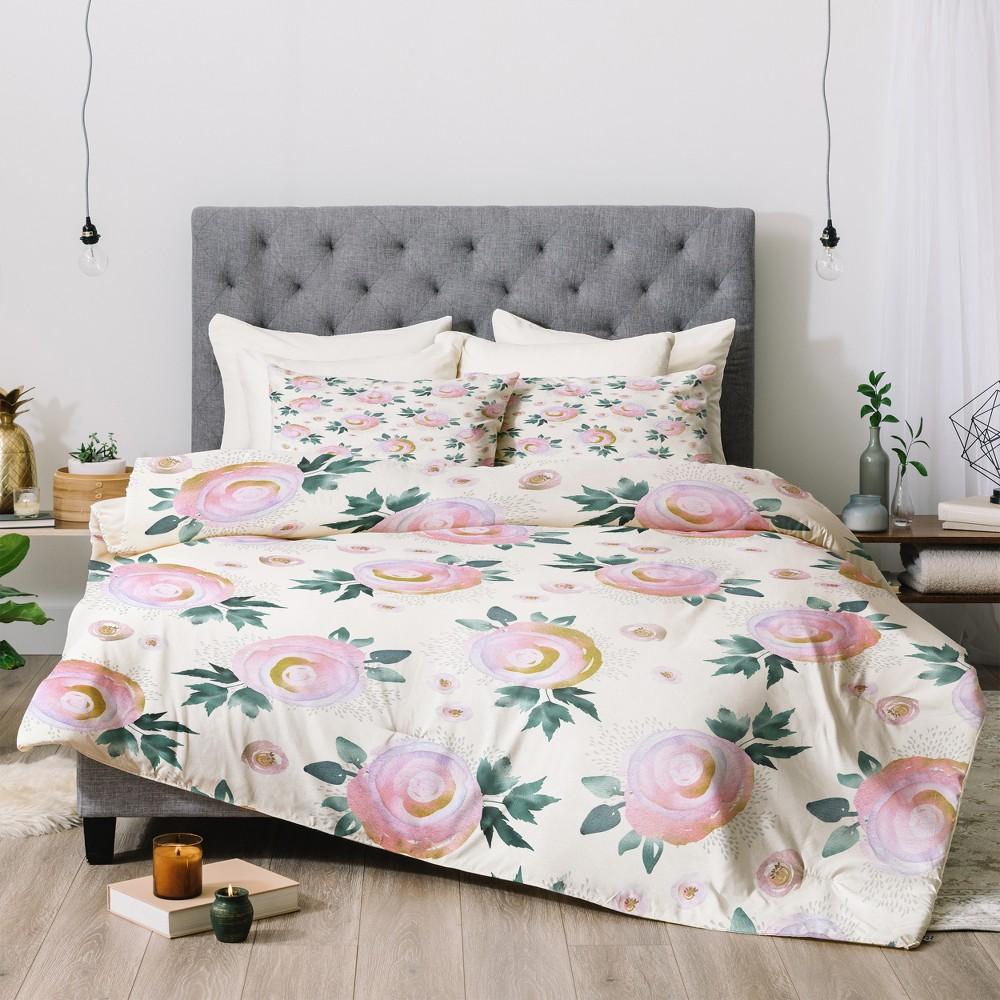Pink Floral Iveta Abolina Rose Taffy Comforter Set (Queen) - Deny Designs