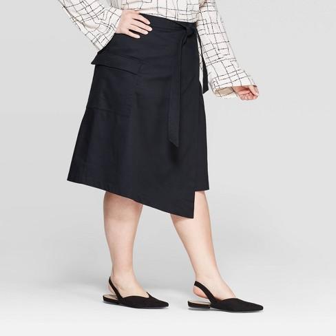 b0c62b5d1b6041 Women's Plus Size Mid-Rise Front Tie Wrap Skirt - Prologue™ Black : Target