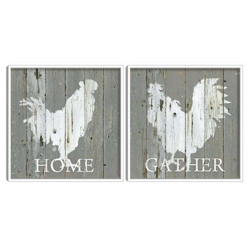 Set of 2 Galvanized Rooster I & II Framed Canvas Art Prints - Masterpiece Art Gallery - image 1 of 4
