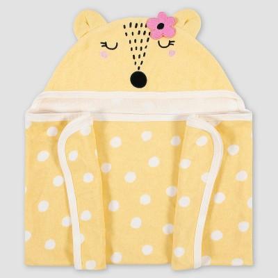 Gerber Baby Girls' Fox Hooded Bath Wrap - Gold