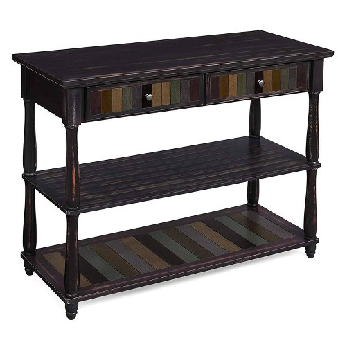 Wooden Console Table with 2 Drawers and Storage Shelves Brown - Benzara - image 1 of 4
