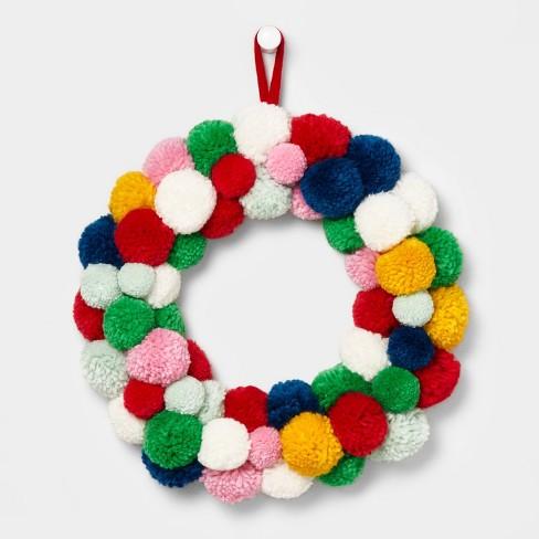 Pom Pom Wreath Multicolored - Wondershop™ - image 1 of 1