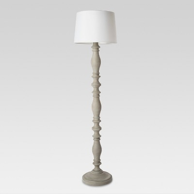 3-way Turned Wood Floor Lamp Gray - Threshold™