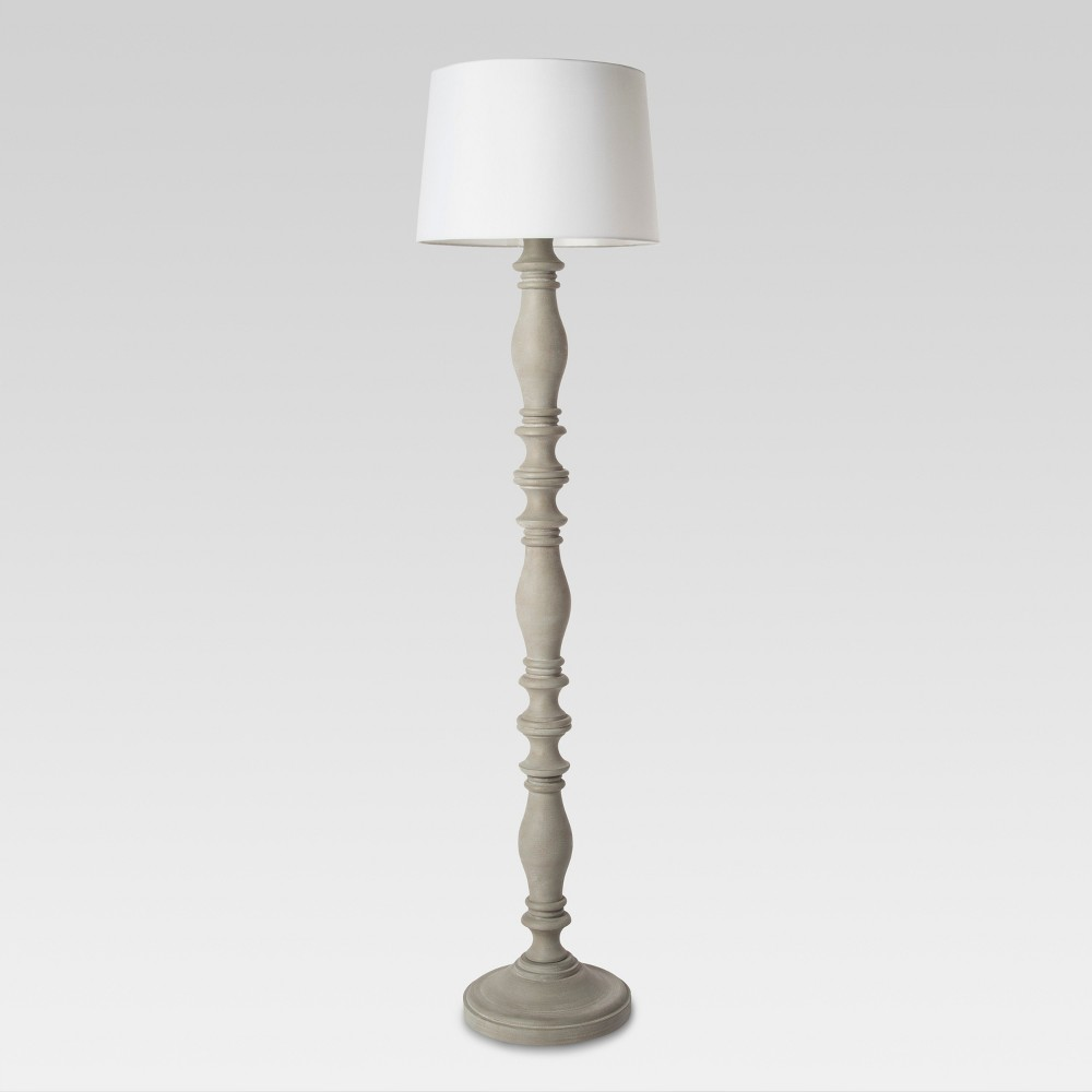 Turned Wood Floor Lamp Gray Lamp Only - Threshold