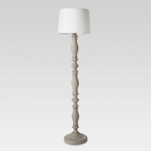 3-way Turned Wood Floor Lamp Gray  - Threshold™ - image 1 of 4