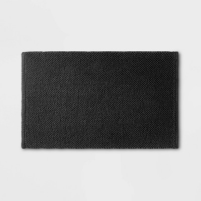 "21""x34"" Textured Bath Mat Washed Black - Casaluna™"