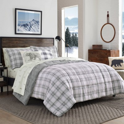 Eddie Bauer Full/Queen Sherwood Plaid Comforter Set Charcoal