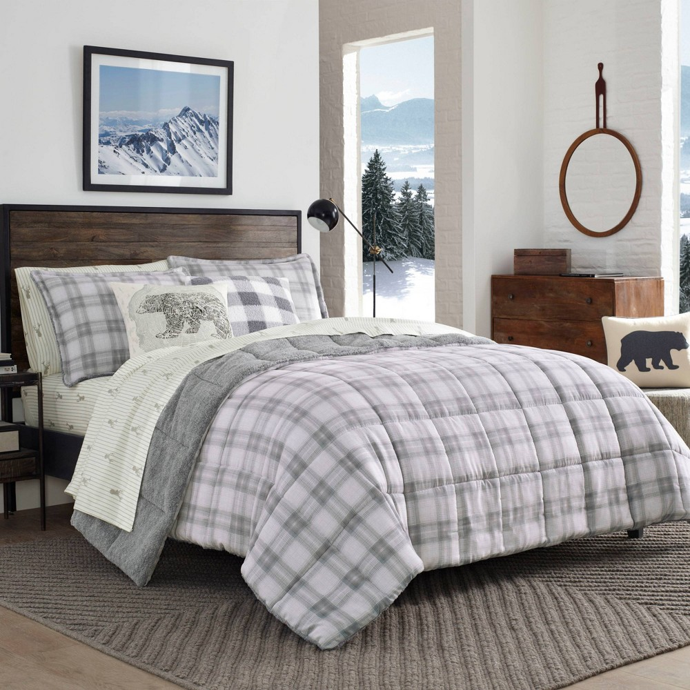 Image of Eddie Bauer Full/Queen Sherwood Plaid Comforter Set Charcoal
