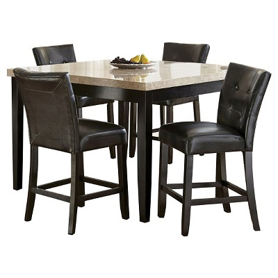 5 Piece Graham Counter Height Dining Table Set Wood/Chocolate - Steve Silver Company